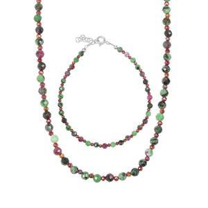 Ruby -Zoisite & Mystic Haematite Sterling Silver Set of Bead Bracelet & Necklace ATGW 48.95cts