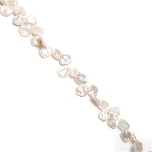 White Freshwater Cultured Keshi Pearls Approx 15-20mm, 38cm Strand