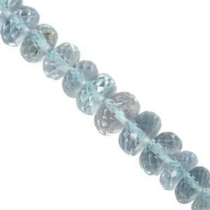 30cts Aquamarine Faceted Roundelles Approx 4.5x2.5 to 6.5x3.5mm, 12.5cm Strand