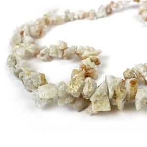 2 x 270cts Cream Colour Drusy Quartz Nuggets, Approx 7%D710-14%D720mm, 38cm strand