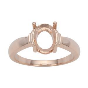 Rose Gold Plated 925 Sterling Silver Oval Ring Mount (To fit 9x7mm gemstone)- 1pcs