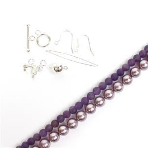 Mauve Mist; Lilac Shell Pearls 8mm, Amethyst Rounds 6mm and 925 Findings Pack 17pc
