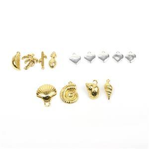 Charms! Inc; Silver & Gold Plated Base Metal. Hearts, Tropicana & Shells.