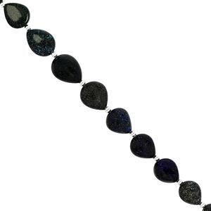 42cts Black Matrix Opal Smooth Pear Approx 7.5x8.5 to 10.8x12mm, 18cm Strand With Spacers