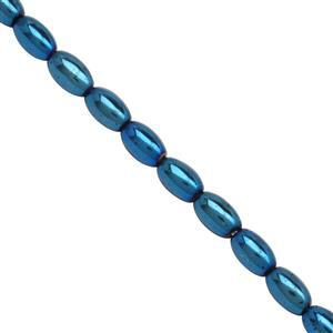 125cts Blue Coated Haematite Smooth Rice Beads Approx 7.5x4.5 to 8x5mm, 39cm Strand