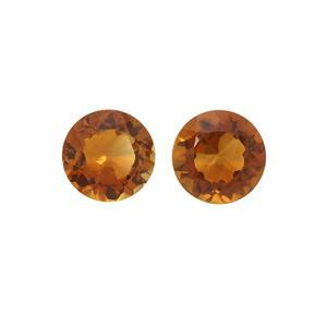 0.35cts Madeira Citrine Brilliant Round Approx 4mm Loose Gemstones, (Pack of 2)