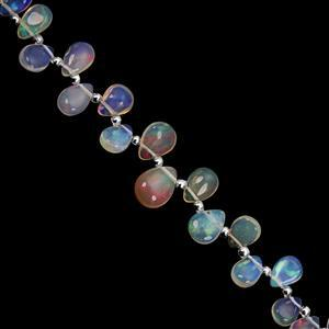 12cts Ethiopian Opal Top Side Drill Smooth Pear Approx 5x4 to 9x6.5mm, 14cm Strand with Spacers