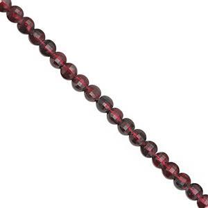 36cts Red Garnet Faceted Flat Coin Approx 4mm, 30cm Strand