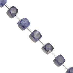 75cts Sodalite Center Drill Faceted Cube Approx 6.50 to 8.50mm, 19cm Strand with Spacers
