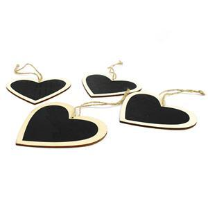 Natural Wooden Heart with Blackboard Tags - (6pcs/pk)
