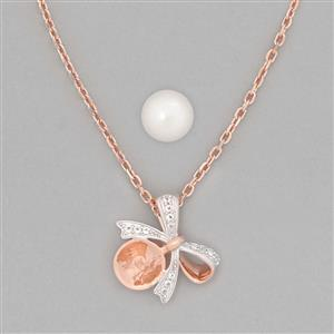 Rose Gold Plated 925 Sterling Silver Necklace Finding 17x17mm Inc. Freshwater Cultured Pearl 11mm Round & 0.14cts White Topaz Brilliant Round 1.25mm