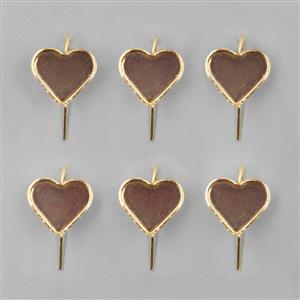 Gold Coloured Bezel Earrings Heart - 13x15mm (3pairs/pk)