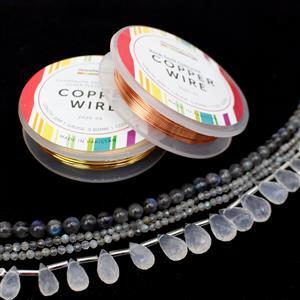 Mystic Light; Girasol Quartz Drops, Faceted & Plain Labradorite Rounds with Champagne & Rose Wire