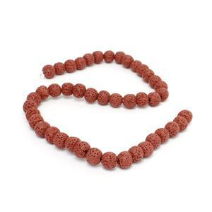 Min 160cts Red Lava Rock Beads Rounds Approx 10x11mm 38cm