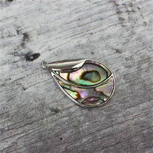 Rhodium Plated 925 Sterling Silver Teardrop Abalone Pendant Approx 25x16mm, 1pc