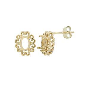 Gold Plated 925 Sterling Silver Fancy Design Oval Earring Mounts (To fit 7x5mm gemstone)- 1pair
