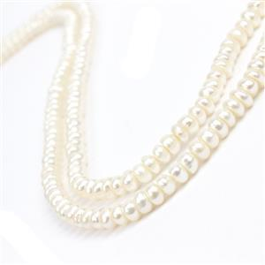 2 Strands White Freshwater Cultured Button Pearls Approx 6-7mm, 38cm strand