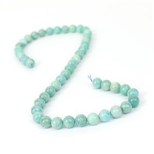 167cts Russian Amazonite Plain Rounds Approx 8mm, 38cm Strand