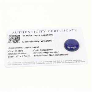 11cts Sar-i-Sang Lapis Lazuli 17x17mm Round  (N)