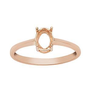 Rose Gold Plated 925 Sterling Silver Oval Ring Mount (To fit 7x5mm gemstone) - 1Pcs