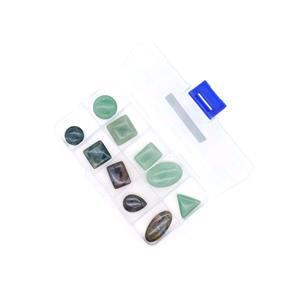180cts Green Aventurine & Fancy Jasper Assorted Shapes and Sizes Pendants (Set of 10) in Plastic Box