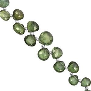 30cts Olive Apatite Top Side Drill Faceted Heart Approx 5x4 to 9x8.5mm, 16cm Strand with Spacers