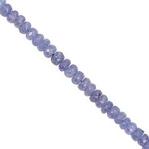 38cts Tanzanite Faceted Rondelle Approx 3.5x2 to 4x2.5mm, 20cm Strand