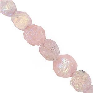 242cts Rose Quartz Graduated Hammering Coin Approx 17 to 23mm, 19cm Strand