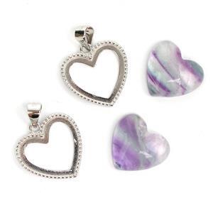 925 Sterling Silver Heart Bezel Pendant Approx 17x22mm (2pcs) & Fluorite Heart Cabochon (2pcs) Approx 14x15mm