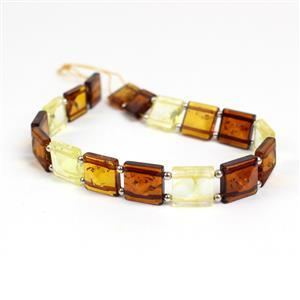 Baltic Ombre Amber Square Bead 10mm Strand 20cm, Sterling Silver Spacer Beads
