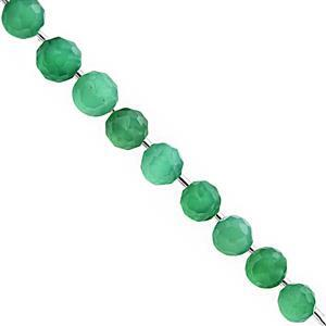 78cts Green Onyx Straight Drill Graduated Faceted Onion Approx 6 to 9mm, 24cm Strand with Spacers