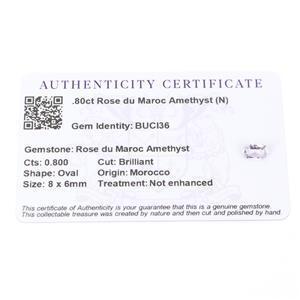 0.8cts Rose du Maroc Amethyst 8x6mm Oval  (N)