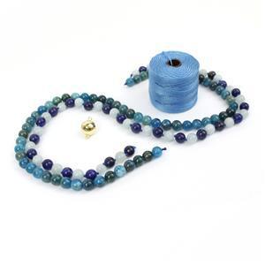 Peace, Courage & Wisdom; 6mm Aquamarine & Lapis Lazuli and Apatite Rounds, Carolina Blue S-Lon and Gold Plated 925 Magnetic Clasp