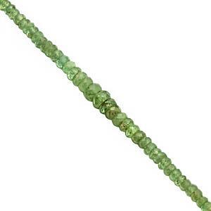25cts Demantoid Garnet Graduated Faceted Rondelles Approx 2x1.5 to 4.5x2mm, 19cm Strand
