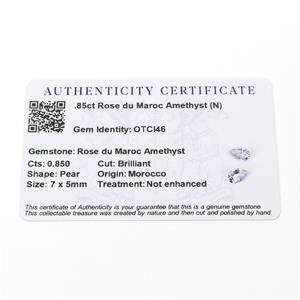0.85cts Rose du Maroc Amethyst 7x5mm Pear  (N)
