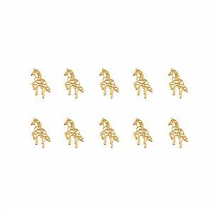 Gold Colour Base Metal Unicorn Charms, Approx 7X15mm (10pcs)