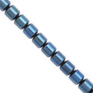 325cts Royal Blue Coated Hematite Smooth Drum Approx 9.50mm, 20cm Strand