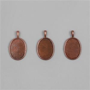 Antique Copper Brass Bezel Pendant Ovals Approx 15x20mm (3pcs/set)