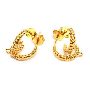 Gold Plated 925 Sterling Silver Twist Hoop Earrings With Texture & Loop Approx 12mm (2Pairs)