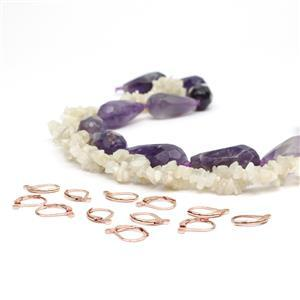 A Drop Of Good; 505cts Banded Amethyst, 150cts White Moonstone, RGP Base Metal Lever Backs
