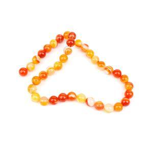 240cts Dyed Orange Stripe Agate Plain Rounds Approx 10mm, 38cm Strand