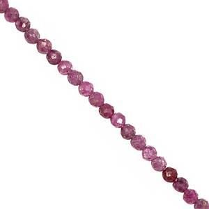 22cts Ruby Micro Faceted Round Approx 2.50mm, 40cm Strand