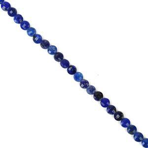 30cts Dyed Lapis Lazuli Faceted Coins Approx 4mm, 38cm Strand