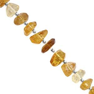 100cts Shaded Citrine Faceted Unusual Tumble Approx 9.5x3 to 15x8mm, 14cm Strand with Spacers