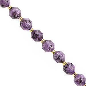 95cts Charoite Center Drill Faceted Lantern Approx 9.5x8.5 to 10x9mm, 20cm Strand with Spacers