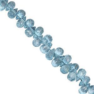 45cts London Blue Coated Topaz Top Side Drill Faceted Drop Approx 4.5x3 to 7.5x4mm, 19cm Strand with Spacers