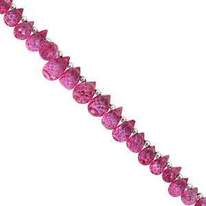 38cts Pink Colour Coated Topaz Top Side Drill Graduated Faceted Drop Approx 4x3mm to 8x5mm, 18cm Strand with Spacers
