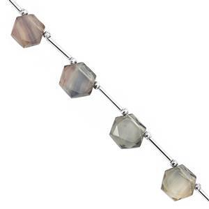 75cts Multi Fluorite Corner Drill Faceted Star Hexagon Approx 10 to 13mm  20cm Strand with Spacers