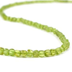 45cts Peridot Faceted Cubes Approx 3mm, 38cm Strand