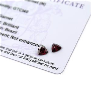 1cts Tocantin Garnet 5.5x5.5mm Triangle Pack of 2 (N)